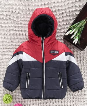 Babyhug Full Sleeves Padded Jacket Adventure Patch - Red