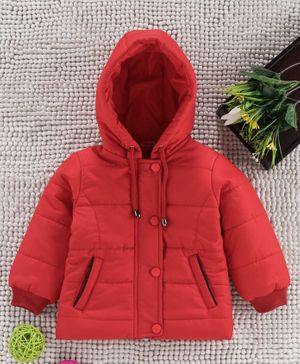 Babyhug Full Sleeves Padded Winter Jacket With Hood - Red