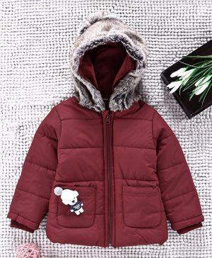 Babyhug Full Sleeves Hooded Jacket With Pockets & Toy Attached - Maroon