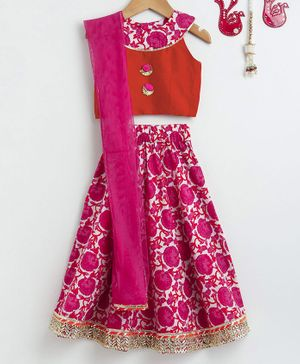 Pspeaches Sleeveless Choli With Floral Print Lehenga & Dupatta - Orange & Pink