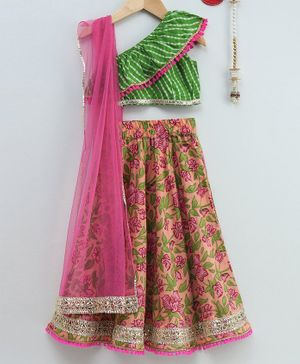 Pspeaches Sleeveless Choli With Flower Print Lehenga & Dupatta Set - Green & Peach