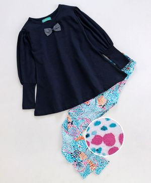 Tiara Full Sleeves Bow Top With All Over Print Leggings - Navy Blue