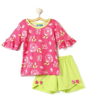 Tiara Rose Printed Half Sleeves Top With Bow Design Shorts - Pink & Green