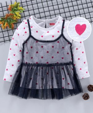 Babyhug Full Sleeves Tee With Attached Mesh Spaghetti Heart Print - White Blue