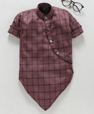 Dapper Dudes Full Sleeves Asymmetrical Button Up Checked Kurta - Pink