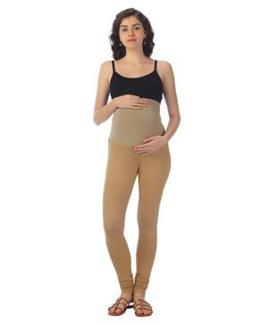 Kriti Maternity Solid Leggings - Beige