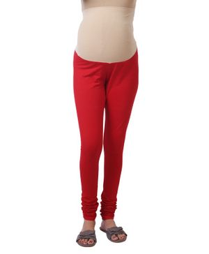 Kriti Maternity Leggings With Tummy Hug - Red