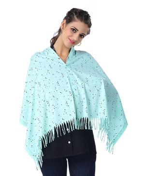 Kriti Dotted Maternity & Nursing Poncho - Sea Green