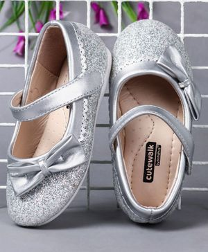 Cute Walk by Babyhug Party Wear Belly Shoes Bow Appliques - Silver