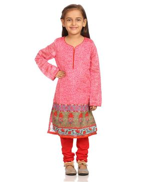 BIBA Full Sleeves Motif Print Kurti With Salwar - Pink & Red