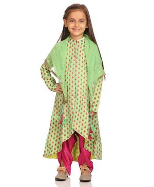 BIBA Full Sleeves Block Print Kurti With Contrast Salwar & Dupatta Set - Green & Pink