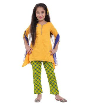 BIBA Full Sleeves Embroidered Kurti With Printed Churidaar & Dupatta Set - Yellow & Green