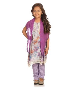 BIBA Sleeveless Flower Print Lace Work Kurti With Checked Salwar & Dupatta Set - Purple