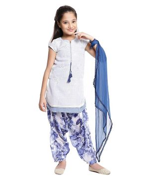 BIBA Short Sleeves Checked Kurti With Floral Print Salwar & Dupatta Set - Blue