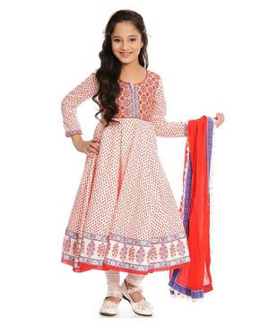 BIBA Flower & Circle Printed Full Sleeves Anarkali With Churidar & Dupatta Set - Off White & Red