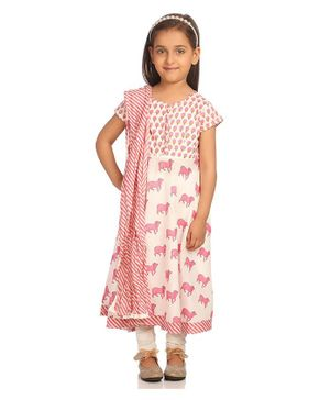 BIBA Flower & Cow Printed Half Sleeves Anarkali With Churidar & Dupatta Set - Light Pink