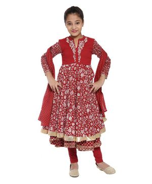 BIBA Flower Printed Full Sleeves Anarkali With Churidar & Dupatta - Rust