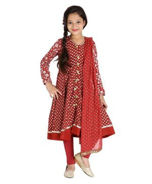 BIBA Floral Printed Full Sleeves Anarkali With Churidar & Dupatta - Rust