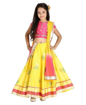 BIBA Flower Embroidered Short Sleeves Choli With Lehenga & Dupatta - Pink & Yellow