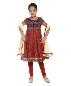 BIBA Short Sleeves Printed Anarkali Suit With Dupatta Set - Maroon