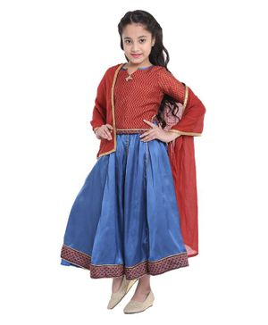 BIBA Printed Full Sleeves Choli With Lehenga & Dupatta   - Maroon & Blue