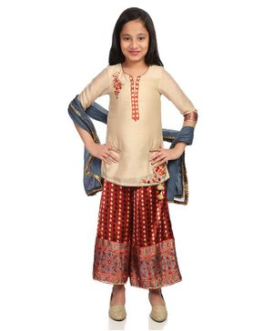 BIBA Flower Printed Three Fourth Sleeves Kurta With Palazzo Set - Cream & Maroon