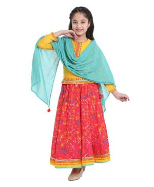 BIBA Full Sleeves Choli With Flower Printed Lehenga & Dupatta - Yellow & Pink