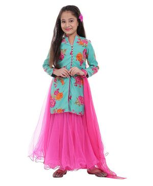BIBA Flower Printed Full Sleeves Kurta & Lehenga With Dupatta - Blue & Pink