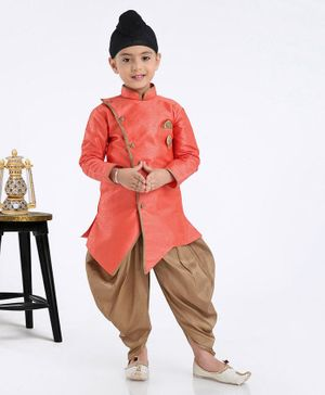 Babyhug Full Sleeves Dhoti Style Pajama & Kurta Set With Pocket Square - Peach