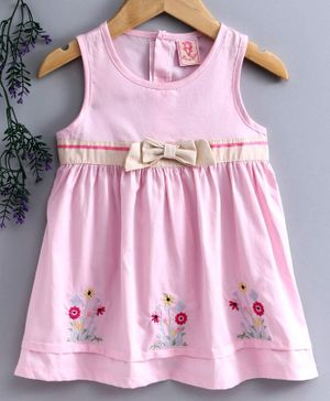 Sunny Baby Sleeveless Floral Embroidered Frock - Pink