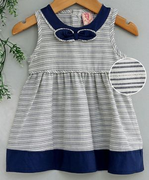 Sunny Baby Sleeveless Striped Frock - Navy Blue