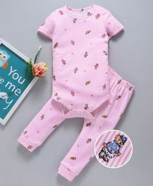 Yiyi Garden Striped Half Sleeves Onesie With Diaper Leggings Teddy Print - Pink
