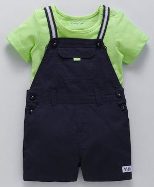 Babyoye Dungaree With Half Sleeves Tee Super Awesome Print - Green Navy