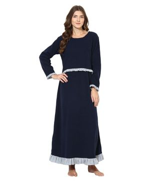 9teenAGAIN Ruffled Detailed Full Sleeves Maternity Night Gown - Navy Blue