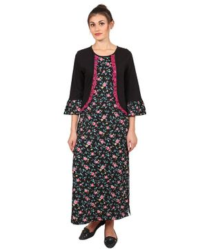 9teenAGAIN Floral Print Three Fourth Ruffle Sleeves Maternity Night Gown - Black