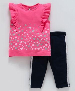 Babyoye Cotton Ruffle Sleeves Top And Bottom Heart Print - Deep Pink