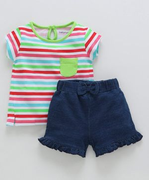 Babyoye Short Sleeves Stripe Cotton Tee And Shorts - Multicolour Navy Blue