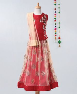 Betty By Tiny Kingdom Sleeveless Flower Embroidered Choli With Shimmer Finish Lehenga & Choli Set With Dupatta - Red