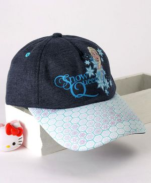 Babyhug Cap Disney Snow Queen Print - Navy Blue