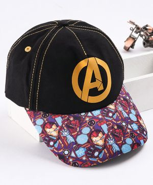 Babyhug Cap Iron Man Print - Black