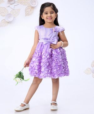 Mark & Mia Cap Sleeves Rosette Frock With Bow Applique - Purple
