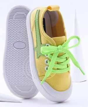 Cute Walk by Babyhug Lace Up Canvas Shoes - Yellow