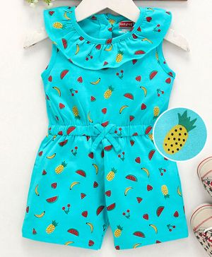 Babyhug Sleeveless Fruit Print Jumpsuit - Turquoise Green