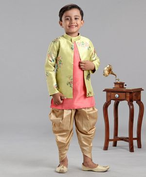 Dapper Dudes Full Sleeves Asymmetrical Button Up Kurta & Dhoti Set With Floral Print Jacket - Green