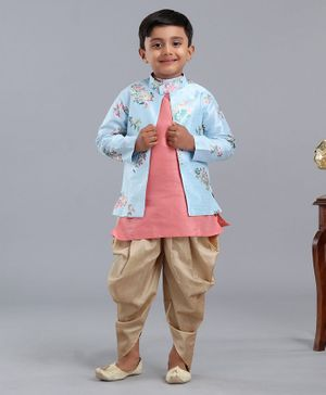 Dapper Dudes Full Sleeves Asymmetrical Button Up Kurta & Dhoti Set With Floral Print Jacket - Light Blue