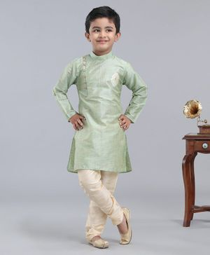 Dapper Dudes Full Sleeves Motif Embroidered Kurta With Pyjama - Green