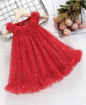 Mark & Mia Sleeveless Frock Style Onesie Floral Applique - Red