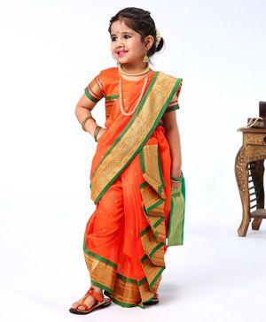 Bhartiya Paridhan Ethnic Saree & Blouse With Jari Border - Orange