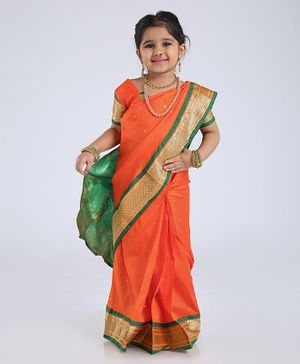 Bhartiya Paridhan Half Sleeves Blouse And Ready To Wear Saree - Orange Green