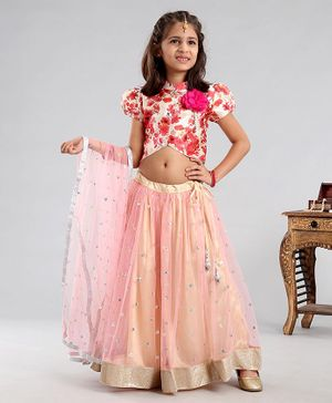 Saka Designs Lehenga & Half Sleeves Choli Set With Dupatta Floral Print - Peach